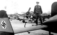 Гвардии капитан Голубков на немецком аэродроме, весна 1945 года
